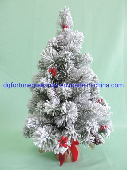 60cm PVC Artificial Home Decoration Christmas Flocked Gifts Burlap Tree pictures & photos