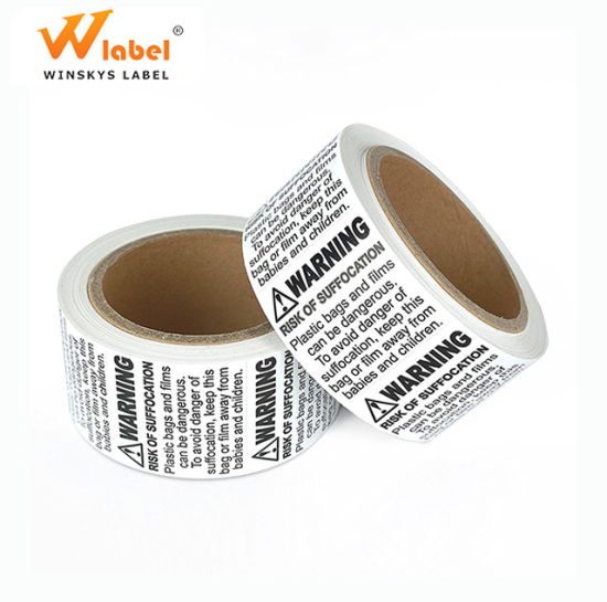 Roll Packaging Wholesales Plastic Bag Suffocation Warning Private Label Stickers Printing