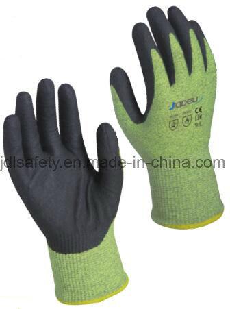 13 Gauge Aramid Fiber En388 Cut Resistant Level D Outside, 18 Gauge Aramid Fiber Inside Thermal Glove, with Black Foam Nitrile Coating on Palm