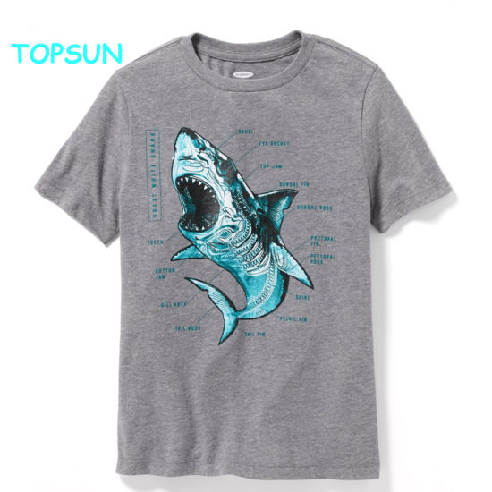 Fashion Cotton Baby Printed T Shirt Children Breathable Plian Clothes Boys Round Ncek Apparel pictures & photos