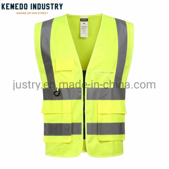 Hi Vis Workwear Orange Custom Reflective Safety Vest with Pockets