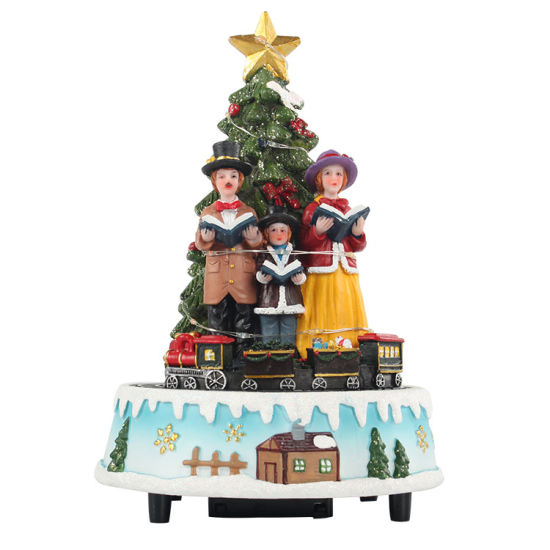 Animated Decor Nativity Choirs Family Scene Polyresin Battery Powered Rotating Tree Music Box Christmas Ornament