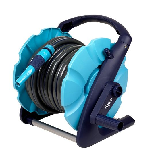 Hand Reel Cart with Hose and Nozzle Set and 1/2-Inch X 15 or 20m Length