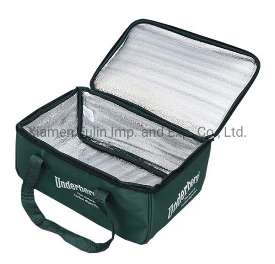 Custom Popular Biodegradable Zip-Lock Army-Green Lunch Insulated Bag with Handles