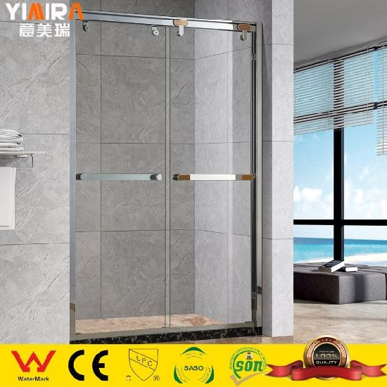 Stainless Steel 304# Frame Tempered Glass Two Sliding Door Shower Enclosure