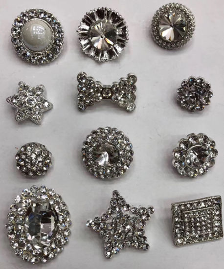 Assorted Shape Design Alloy Round Shank Crystal Rhinestone Button for Wedding