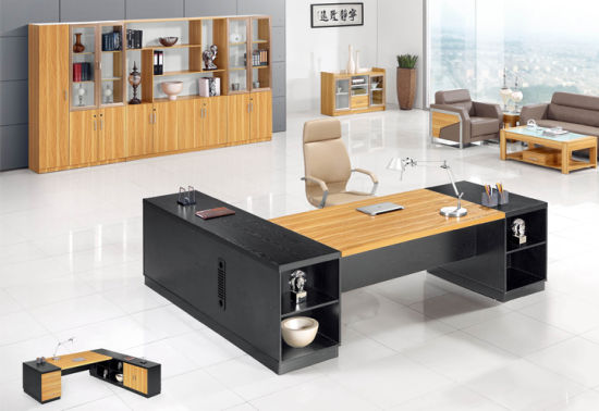 china elegant design boss table with 2 side cabinets china office