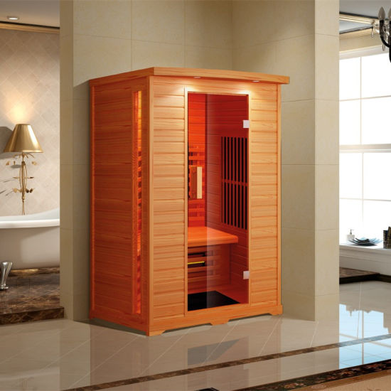 Hemlock Wood Sauna Cabin 1550W Red Glass Heater Shower K9766