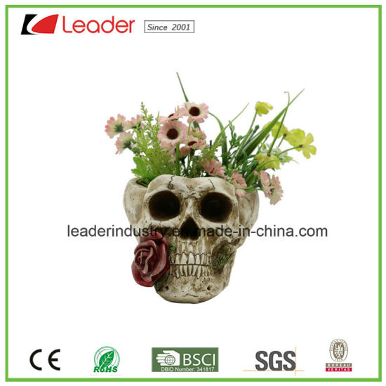 Polyresin Skull Garden Planters Ghost Flowerpot for Halloween Decoration pictures & photos