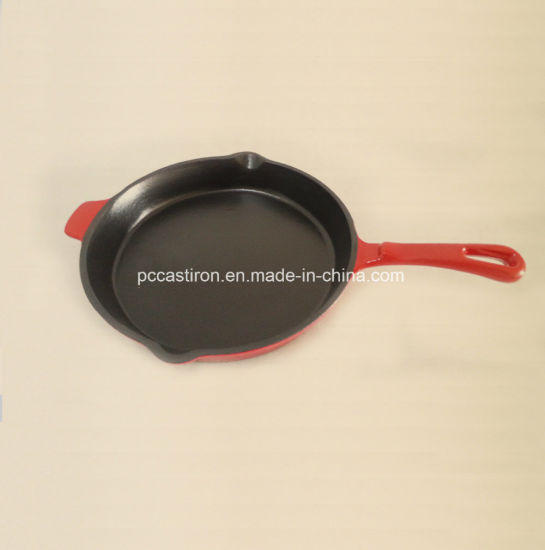 Dia 26 Cast Iron Skillet with Enamel Coating LFGB, Ce Approved pictures & photos