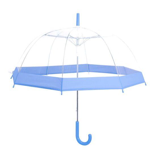 Plastic Marketing Dome Shape Transparent Umbrella with Various Colors
