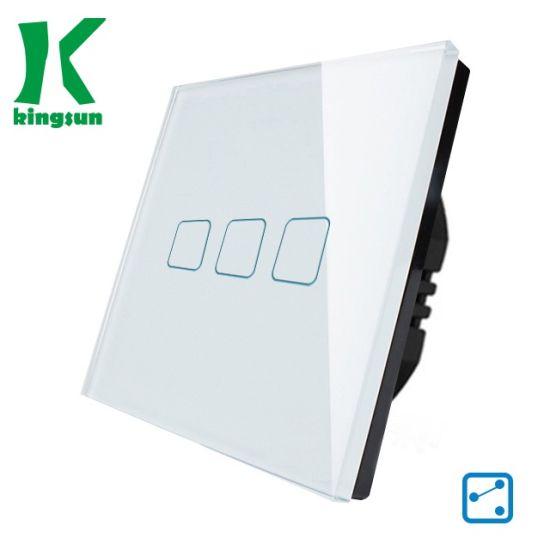 EU Standard Black Glass Panel Wall Touch Switch (3 gang 2 way)