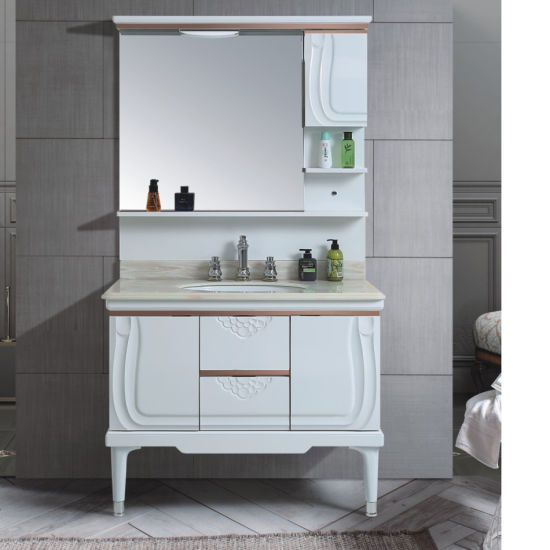 Soft Hing and Drawer Floor Mounted with Mirror PVC Cabinet