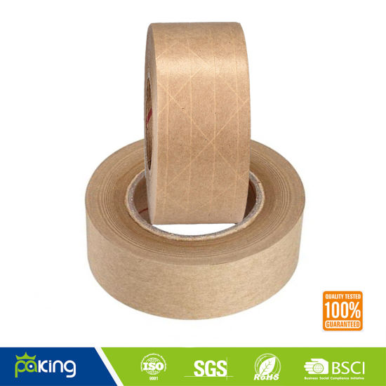 Wet Water Reinforced Kraft Paper Gummed Tape pictures & photos