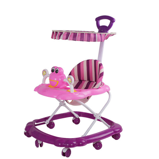 Cute Cartoon Baby Walker with Pushbar and Canopy pictures & photos
