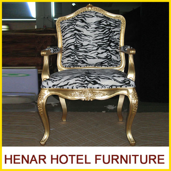 Luxury Comfortable Pattern Fabric Golden Wood Palace Sofa Throne Chair