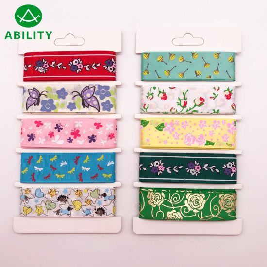 Christmas Various Festival Printed Popular Gift Satin Grosgrain Ribbon