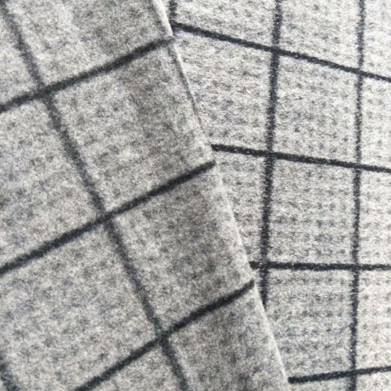 Black and White Checked Knitted Wool Fabric for Garment Winter Clothing Textile Fabric