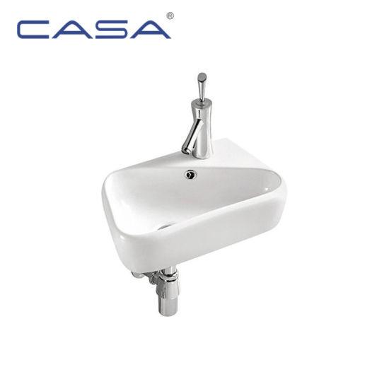 White Color Corner Ceramic Basin Small Bathroom Wall Mount Sink