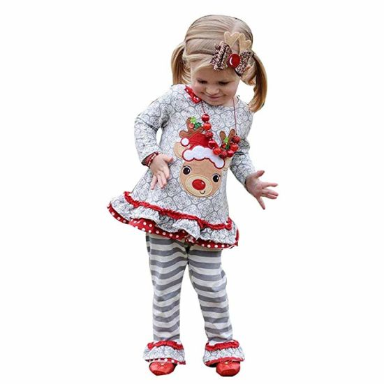 c67797f7f02ba Teen Toddler Baby Girls Christmas 2PCS Outfits Clothes, Cartoon Deer Dress+Striped  Ruched Pants Sets