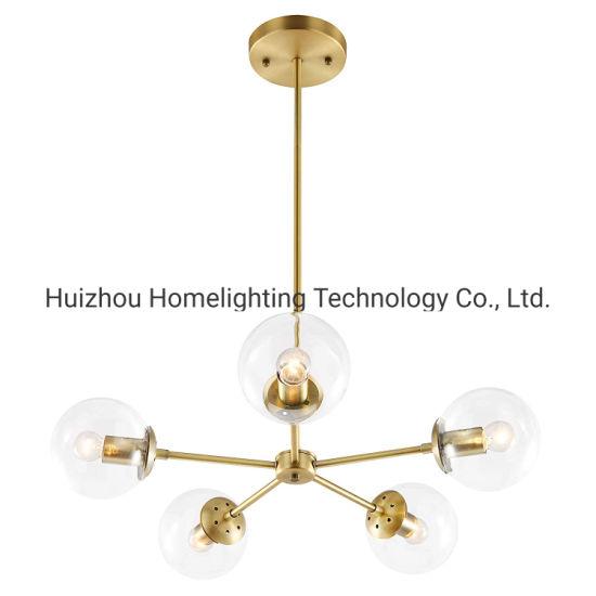 Jlc-6034 Modern 5-Light Chandelier Pendant Lighting with Globe Glass Shade