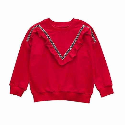 Kids Baby Wear Product Goods Girls V Ruched Sweatshirt Solid Crewneck Pullover Tops Shirt