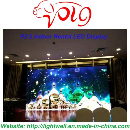 Lw P2.5 HD Indoor Electronic Advertising Rental LED Display for Stage