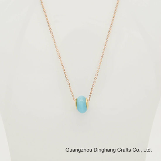 Fashion Electroplate & Electrophoresis Single Blue Opal Bead Fine Chain Necklace jewelry for Unisex Jewellery