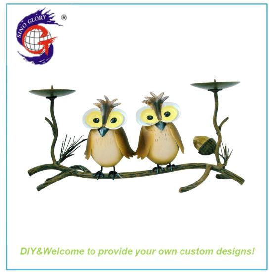 European Home Interior Mini Animal Owl Shape Candle Holder