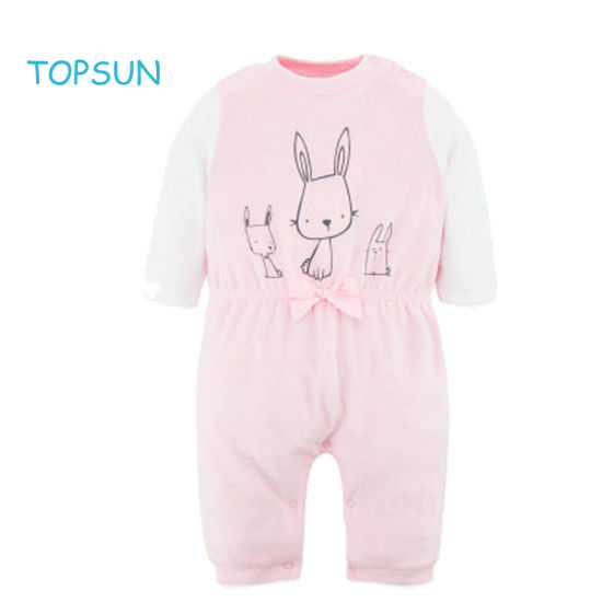 Toddler Baby Pink Cartoon Jumpsuit Winter Warm Version Product Long Sleeved Onesie Garments pictures & photos