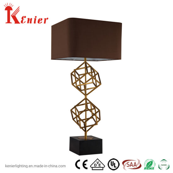Hot Seller Black Fabric Shade Metal in Brass and Black Finish Table Lamp