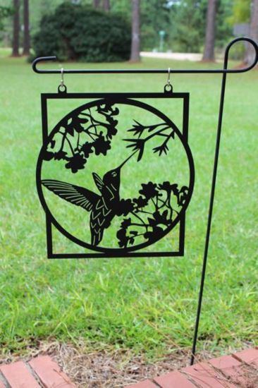 Metal Black Humming Bird Farm Yard Garden Flag Housewarming Gift out Door Garden Decoration