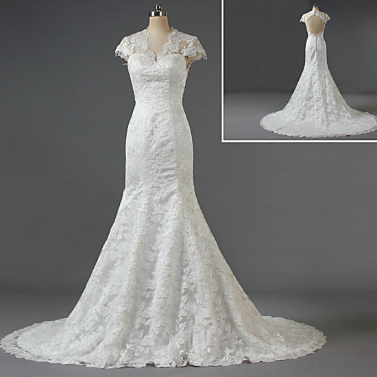 2019 Sexy Cap Sleeves Keyhole Lace Wedding Dresses Bridal Gown for Women Ladies