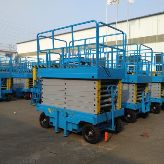 Blue 5m Height Mobile Mini Electric Scissor Lifts for Aerial Working