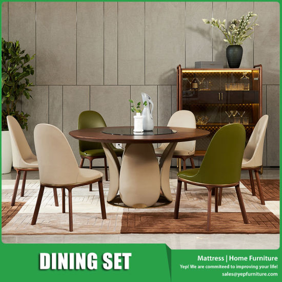 Round Walnut Wooden Dining Room Furniture Set with Glass Top Turntable