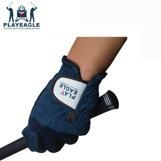 China Navy Golf Gloves Left Hand Breathable Soft Fibre for