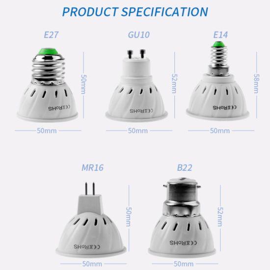Planting LED Light Cup Round GU10 Plastic Aluminium SMD 2835 4W LED Lamp Cup Spotlight Spotlight