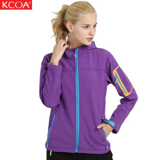 Wholesale Heated Purple Waterproof Fleece Winter Women's Soft Shell Coat
