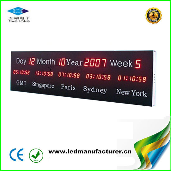 Large Day Month Year Week 4 Group City Time LED Digital Clock