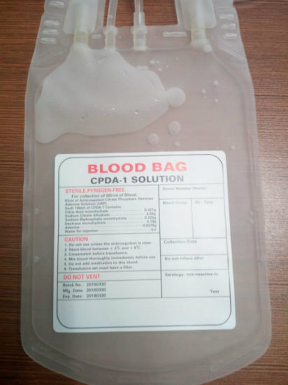 Medical Disposable PVC Blood Bag for Hospital pictures & photos
