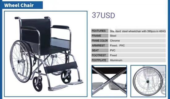 Factory Hot Sale Standard Manual Wheelchair Price 37USD pictures & photos