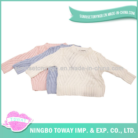 Knitting Apparel Cute Pullover Cotton Crochet White Knit Sweater pictures & photos