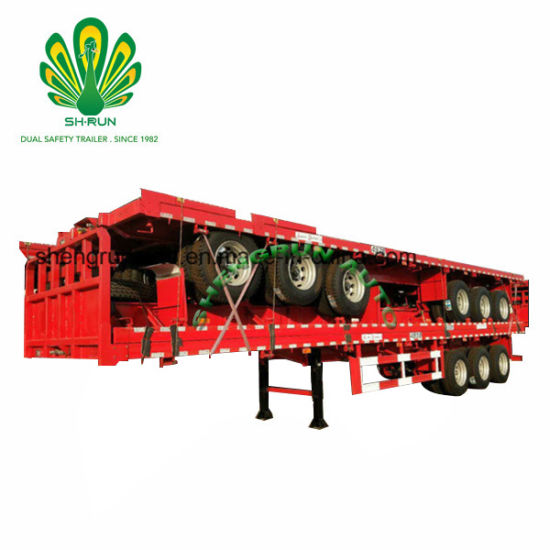 Shengrun Manufacturer 40FT Flatbed Container Semi Truck Trailer