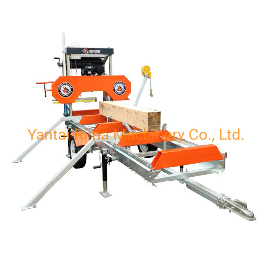 Portable Mobile Horizontal Bandsaw Saw Mill Wood Sawmill with Trailer