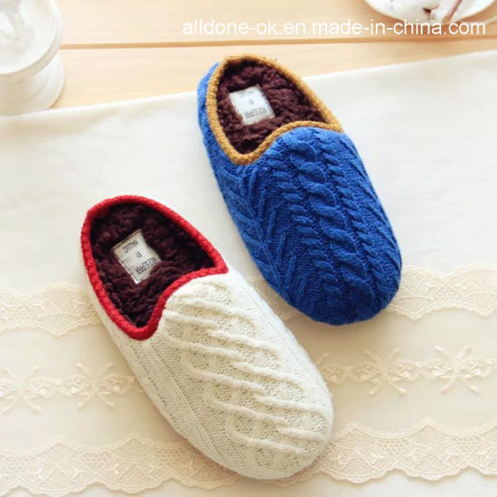 Latest Style Mute Women Men Knit Couple Indoor Home Slippers pictures & photos