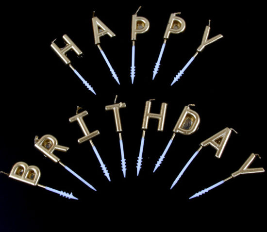 Wholesale Happy Birthday Cake Golden Alphabet Shape Candle