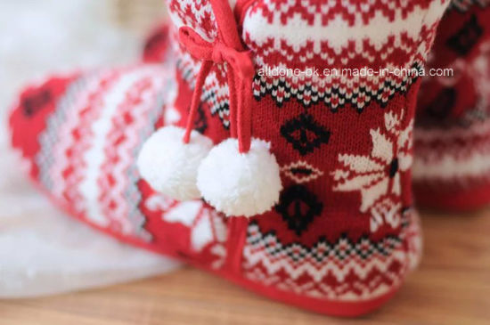 Women Knitted Socks Snow Boot Knit Winter Snowflake Boots Shoes pictures & photos