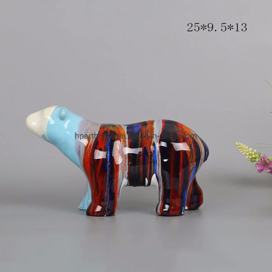 Lively Resin Polar Bear Statue Office Holiday Decoration Arts Crafts