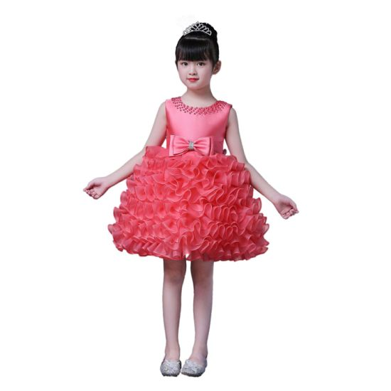 Kids Party Dress Wholesale Girls Birthday Party Clothing Flower Girls Tiered Dresses Western Formal Party Wear Dresses