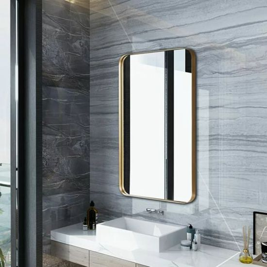 Mirrored Rectangle Hangs Horizontal Or, Brushed Stainless Bathroom Mirror